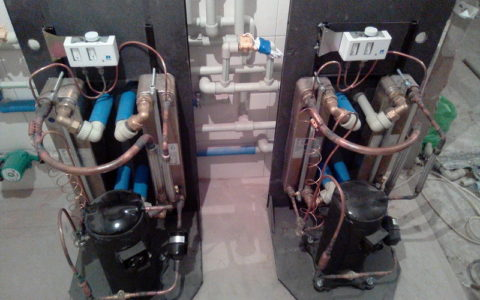 Тандем тепловых насосов мощностью 30 Квт.